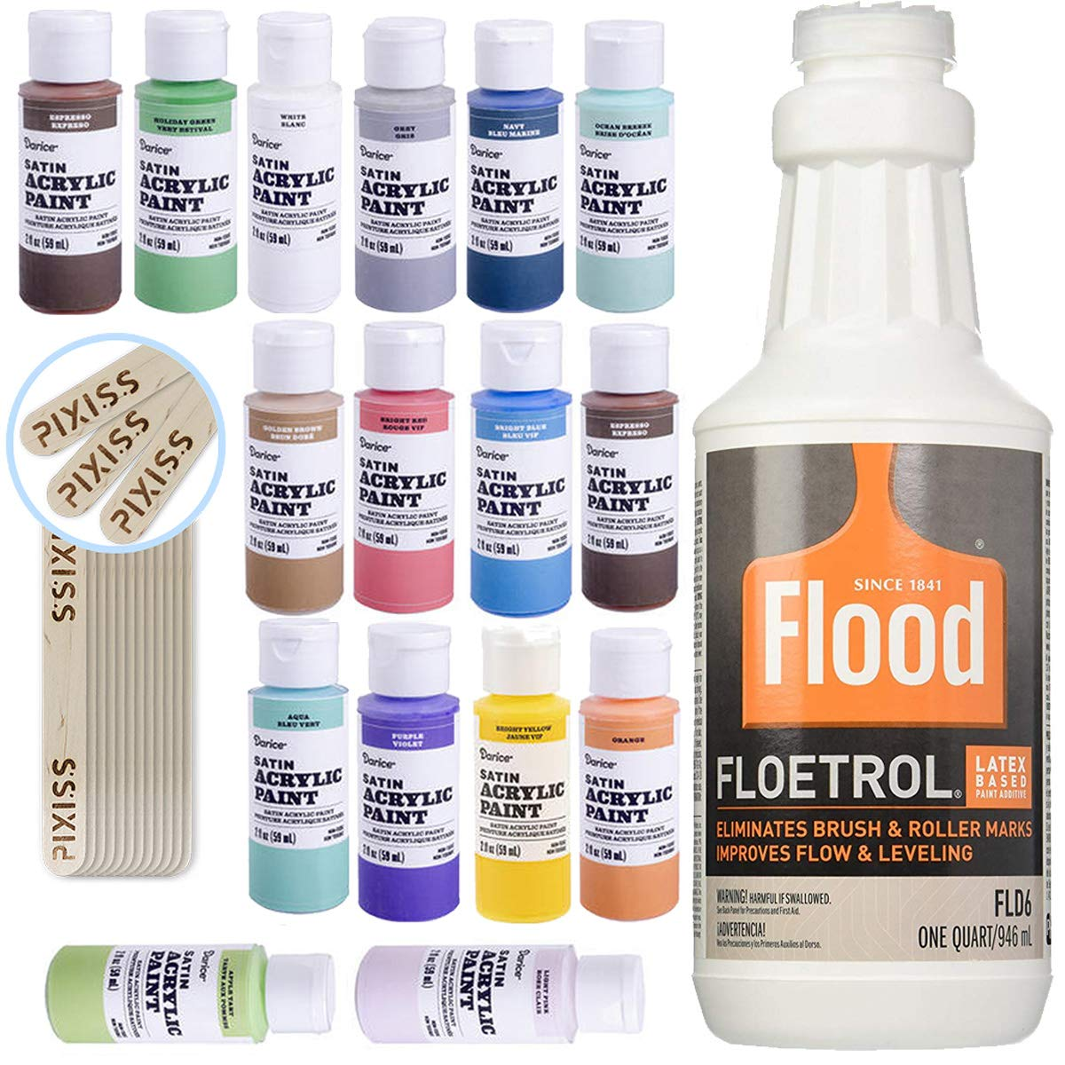 1 Quart Flood Floetrol Additive, 16 2-Ounce Acrylic Paints, 20x 6-inch Pixiss Wood Mixing Sticks by GrandProducts