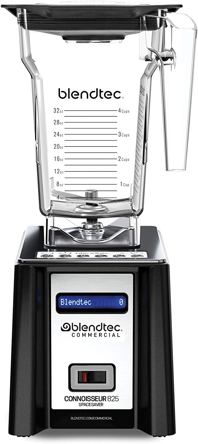 Blendtec Connoisseur Spacesaver 825 Commercial Blender with FourSide Jar, Industries Strongest Professional-Grade Power, 30 Pre-programmed Cycles, Black