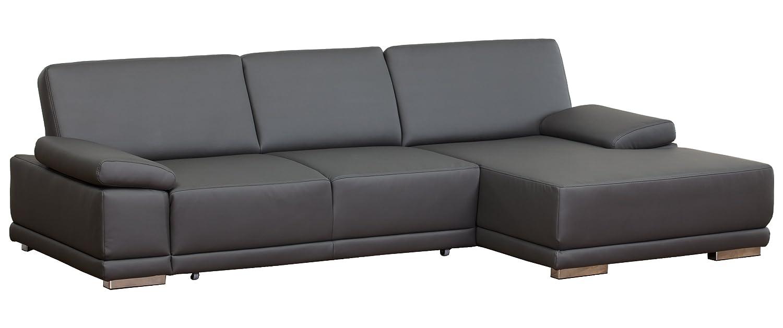 Lederecke Corianne/3er Bett-Longchair/282x80x162 cm/Leder Punch schwarz-Poroflex softy schwarz