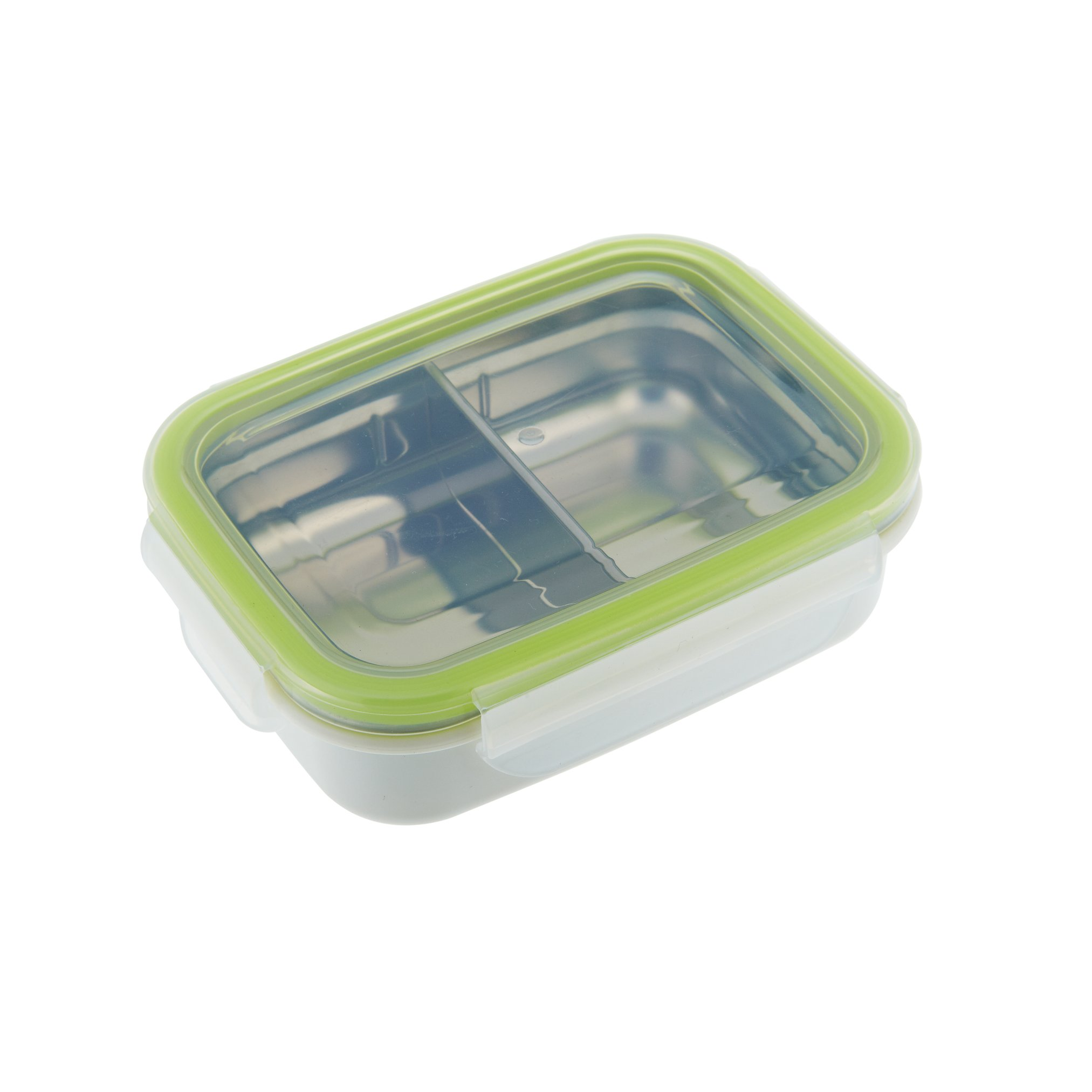 Innobaby Keepin' Fresh Stainless Divided Bento Snack Box with Lid for Kids and Toddlers. BPA Free. Green.