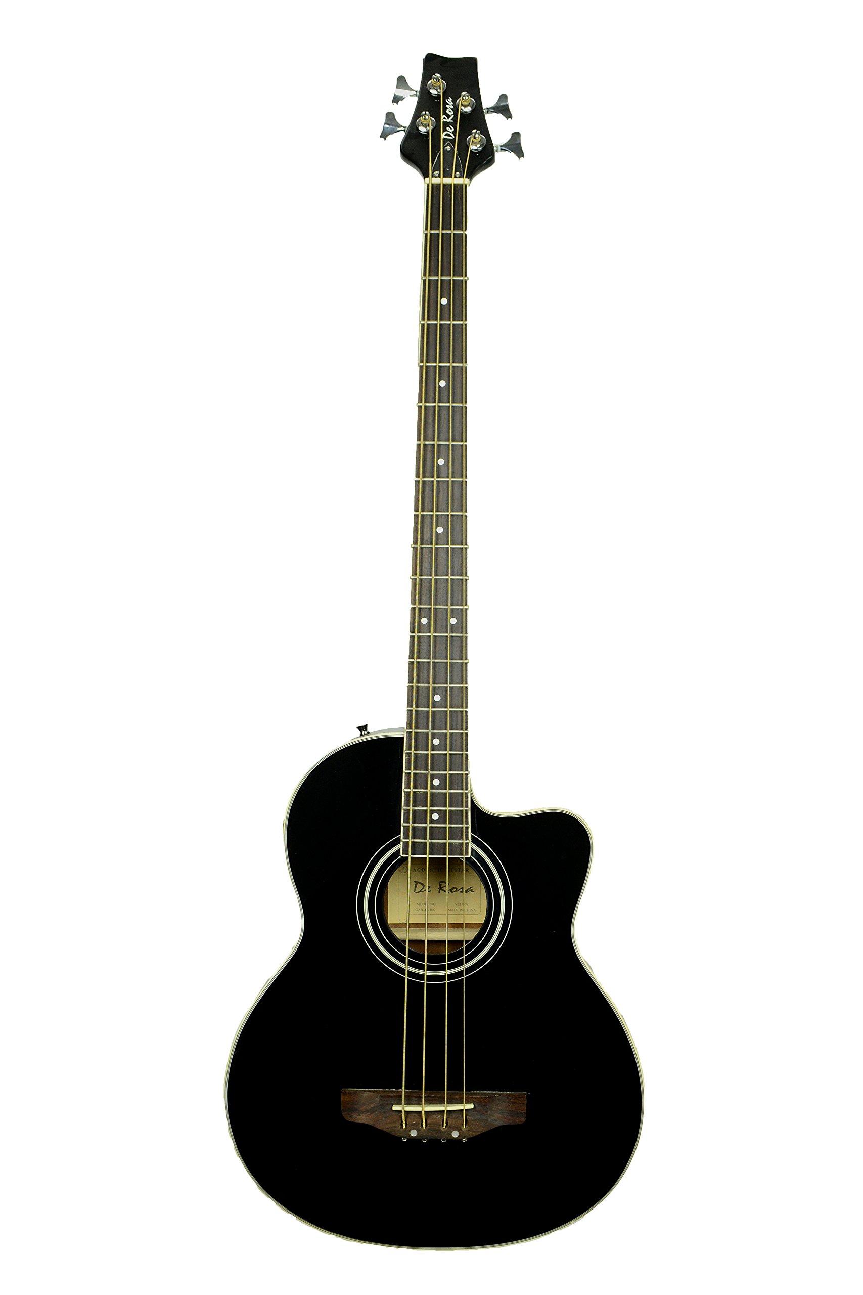 De Rosa GAB47 4 String Cutaway Acoustic-Electric Bass Guitar-BLACK