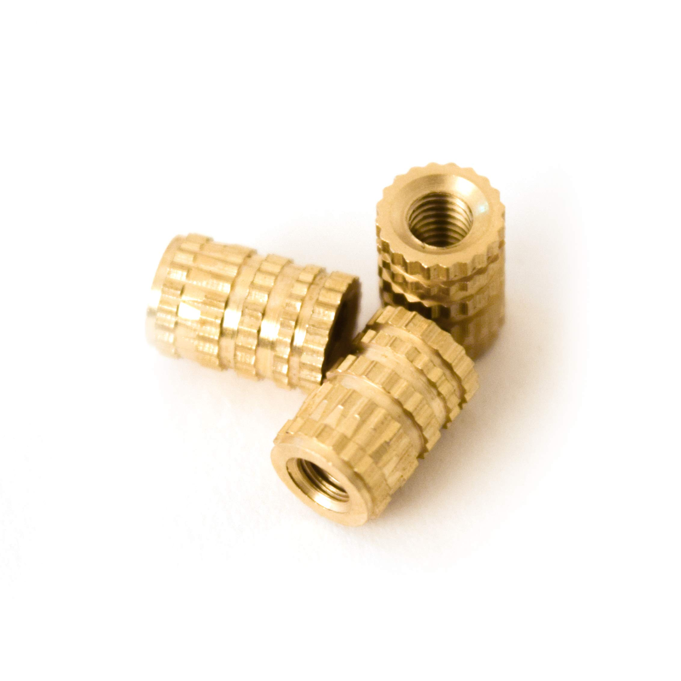 [ J&J Products ] M3 Brass Insert, 8 mm (Length), Female Thread, Press Fit/Injection Mold Type, 100 pcs by J&J Products