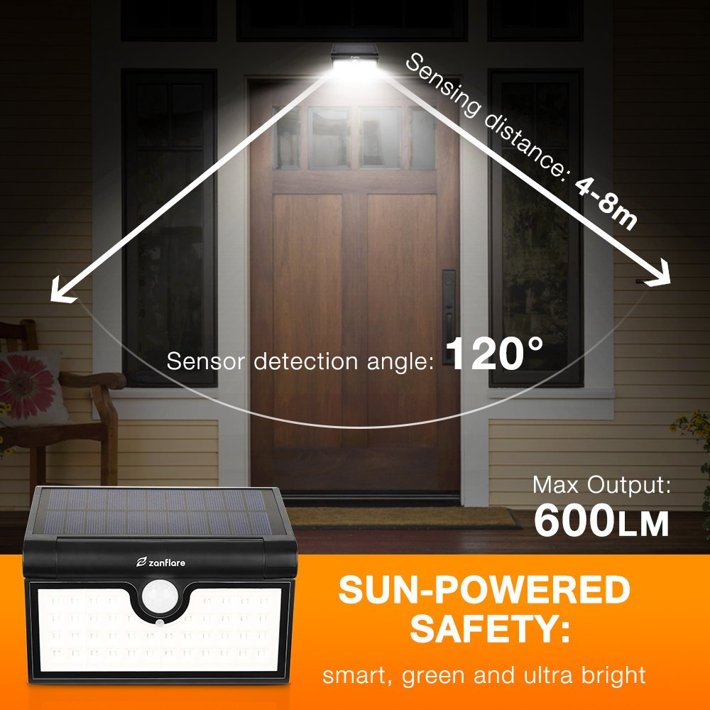 42 LED Motion Sensor Solar Light Outdoor, Zanflare Super Bright Solar Powered Wall Path Light, Wireless Home Security Outdoor Light with Motion Activated Auto ON/Off (2 Pack) by Zanflare (Image #2)