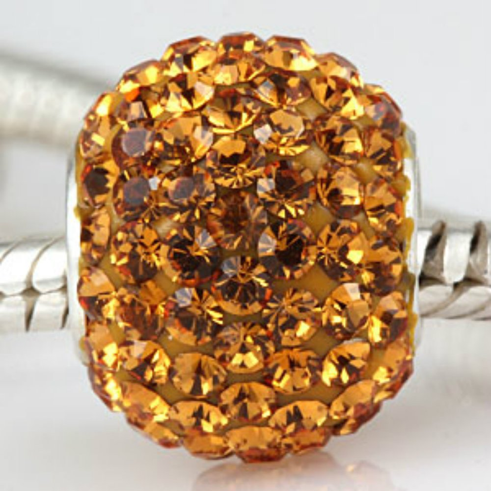Bling-Yellow-Crystal-Pave-Sparkle-925-Sterling-Silver-Bead
