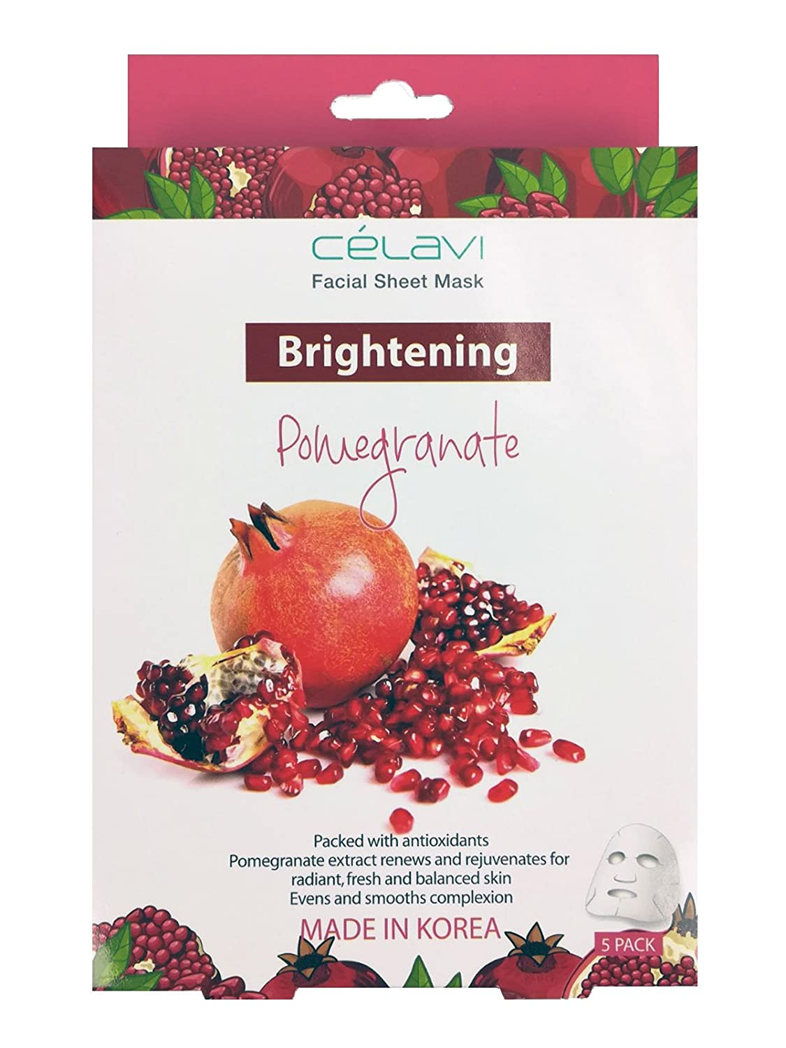 Celavi Essence Facial Mask Paper Sheet Korea Skin Care Moisturizing 5 Pack Box (Pomegranate)
