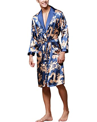 Asskyus Vestido de Kimono de Raso de los Hombres Estilo Largo Ligero de la luz: Amazon.es: Ropa y accesorios