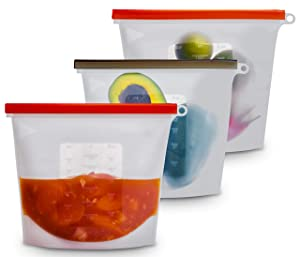 Eco-Aforcli Reusable Silicone Food Storage Bags | LARGE SIZE / 50oz/1500ML/6Cups | BPA-Free Silicon Airtight, Leakproof Bag | Best for Fruit, Vegetables, Meat, Soup, Dishwasher, Freezer Safe