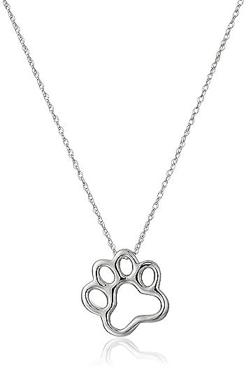 10k white gold dog paw pendant necklace 18 amazon jewelry 10k white gold dog paw pendant necklace 18quot aloadofball Image collections