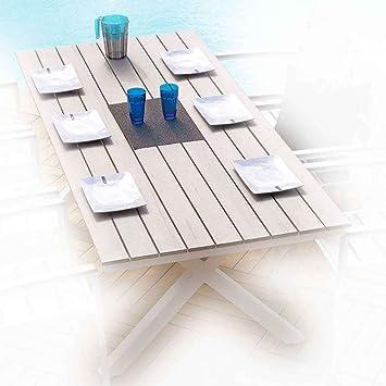 Ozalide 9018 Cavalaire Table Aluminium/PVC/Bois 200 x 90 x ...