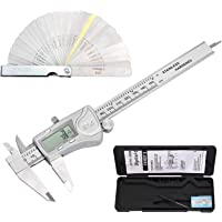 Proster 6 Inch/150mm Digital Vernier Caliper IP54 Waterproof + 32 Pcs Feeler Gauge Electronic Caliper Fractions/Inch/Metric Conversion Measuring Tool for Length Width Depth Inner Diameter Outer Diamete