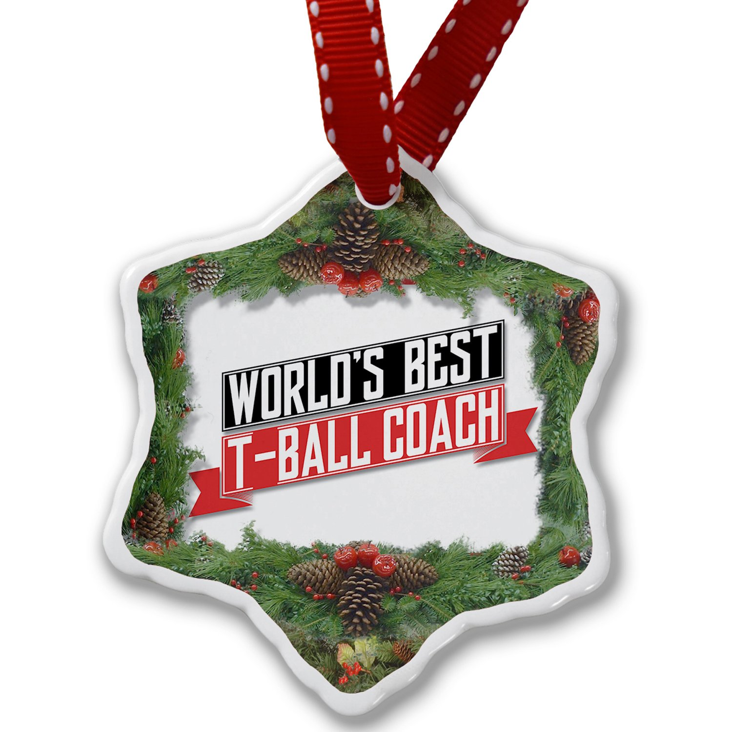 Christmas Ornament Worlds Best T-Ball Coach - Neonblond