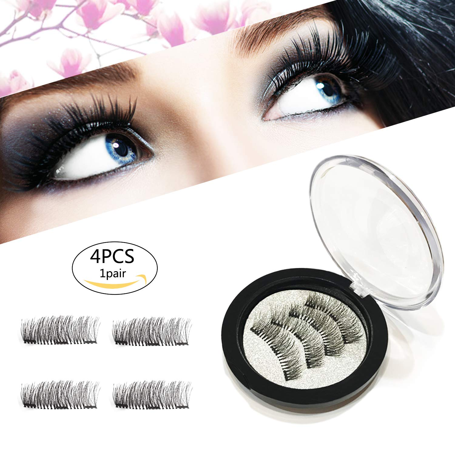 f6af53e7a7a Amazon.com : Magnetic Eyelashes Glue Free 3 Magnets, Best 3D Full Eye False  Lashes Extension For Natural Look, Reusable Ultra Thin Fake Eyelashes, ...