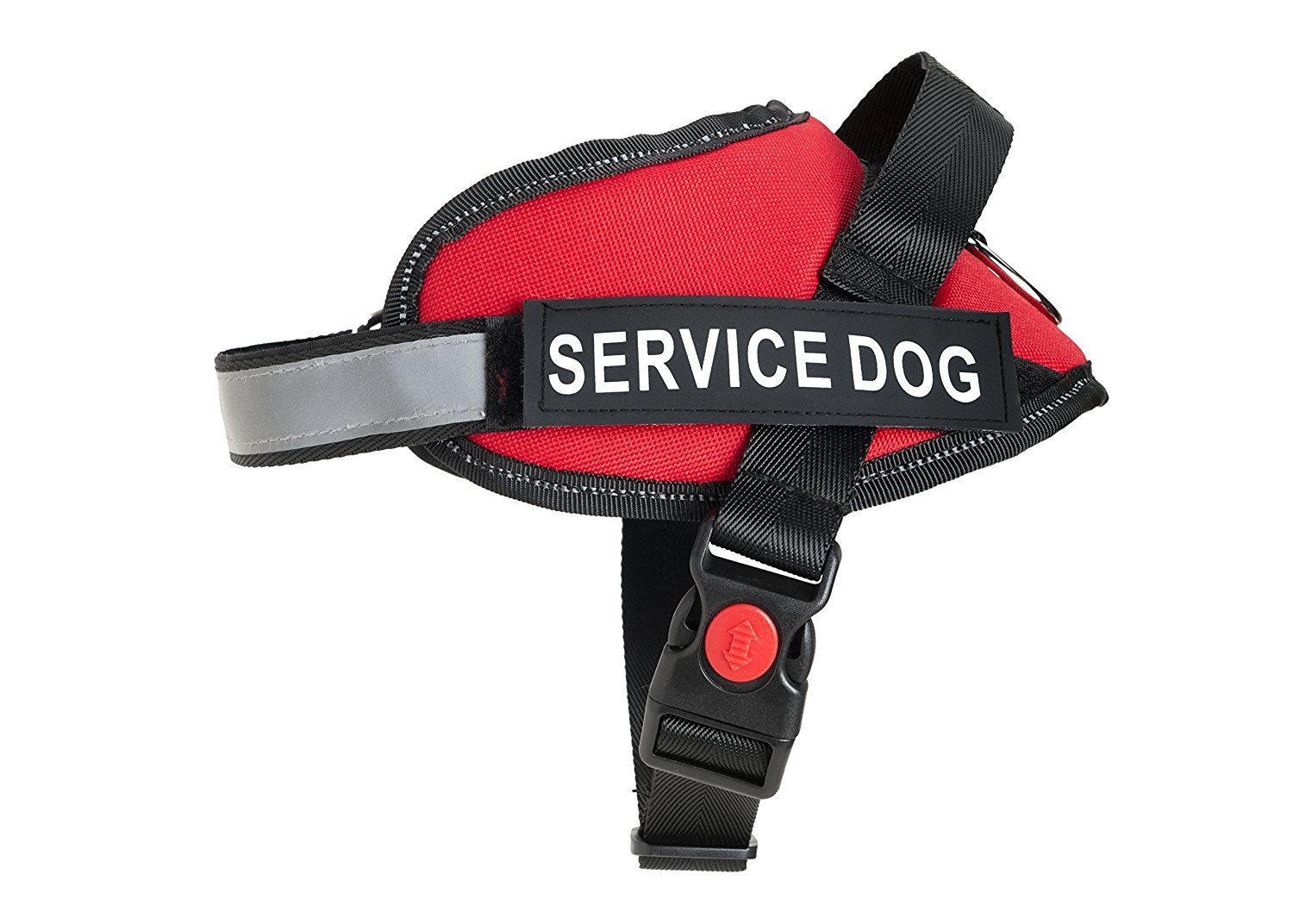 Service Dog Vest - Premium Quality Service Dog Harness - Improved Design - Fully Adjustable - Bright Red Safety Color with Reflective Strap (XXL)