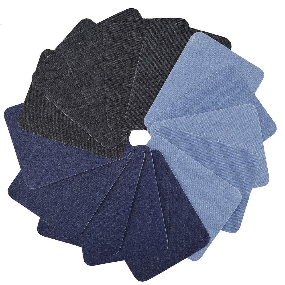 Pawaca 12pezzi 3colori toppa termoadesiva denim cotone toppe termoadesive kit di riparazione, denim toppa termoadesiva no-sew sfumature di jeans in cotone jeans kit di riparazione