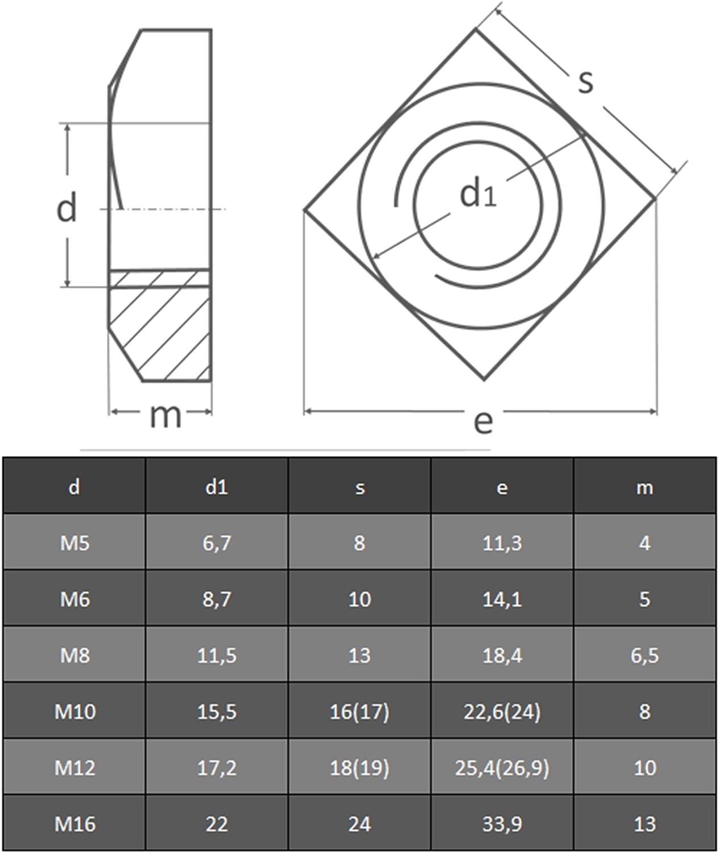 Mutter OPIOL QUALITY rostfrei Vierkantmuttern M 10 DIN 557 Edelstahl A2 | Vierkant 30 St/ück 4-kant Muttern