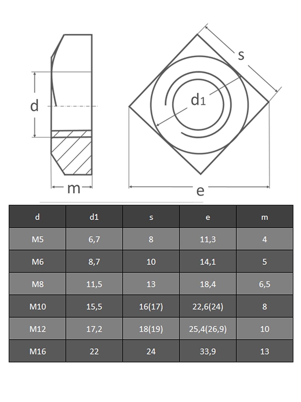 Muttern OPIOL QUALITY 4-kant Mutter Vierkantmuttern M 12 DIN 557 Edelstahl A2 10 St/ück rostfrei | Vierkant