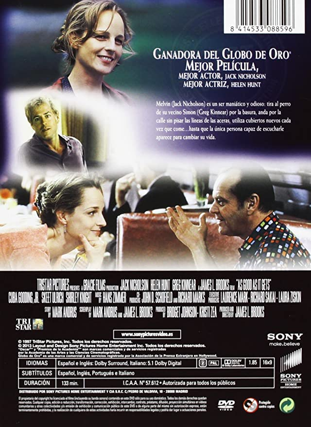 Amazon.com: Mejor Imposible (Import Movie) (European Format - Zone 2) (2013) Jack Nicholson; Helen Hunt; Greg Kinnea: Movies & TV