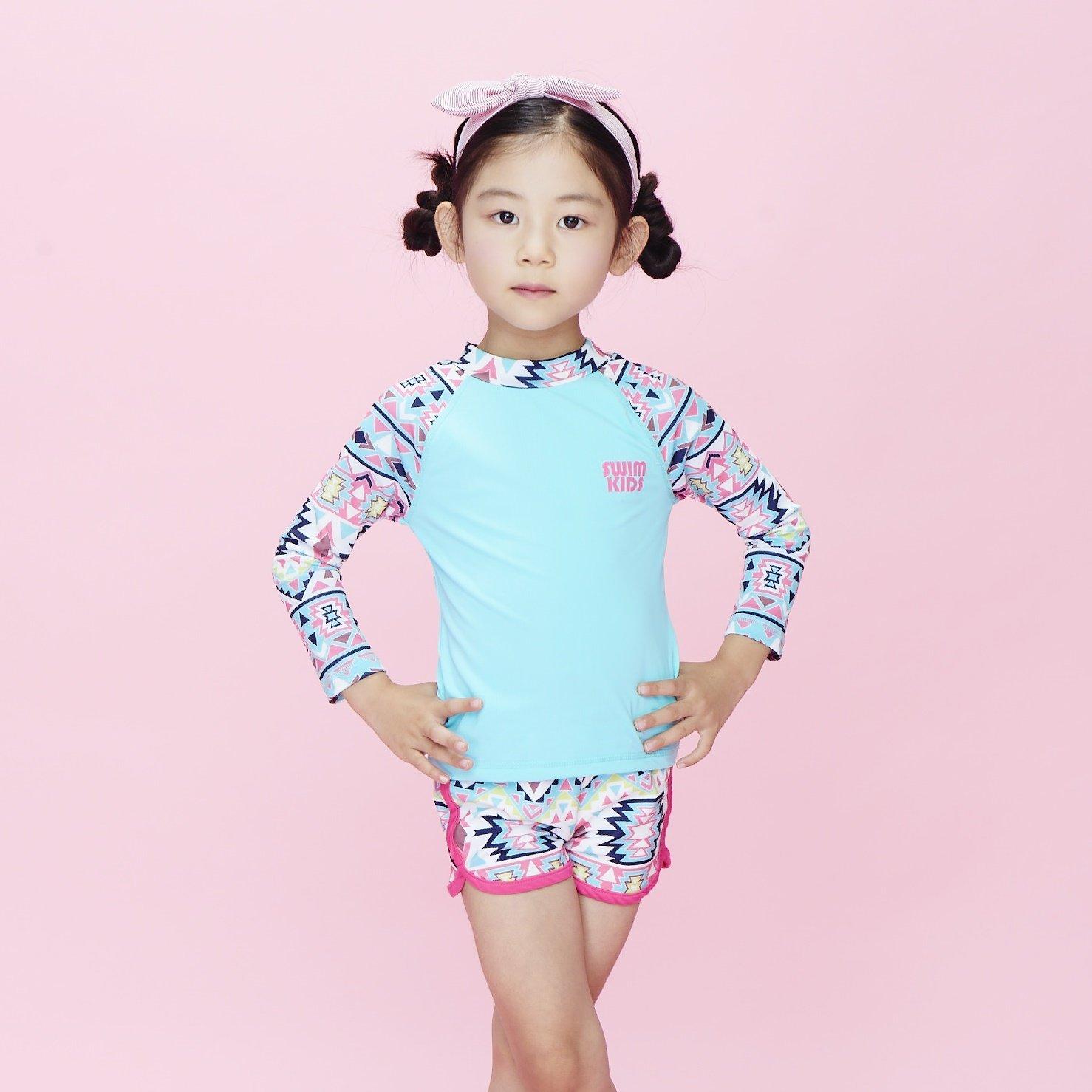 SWIMKIDS Big Girls Geometric Long Sleeve Rashguard Swim Set SK03GR09