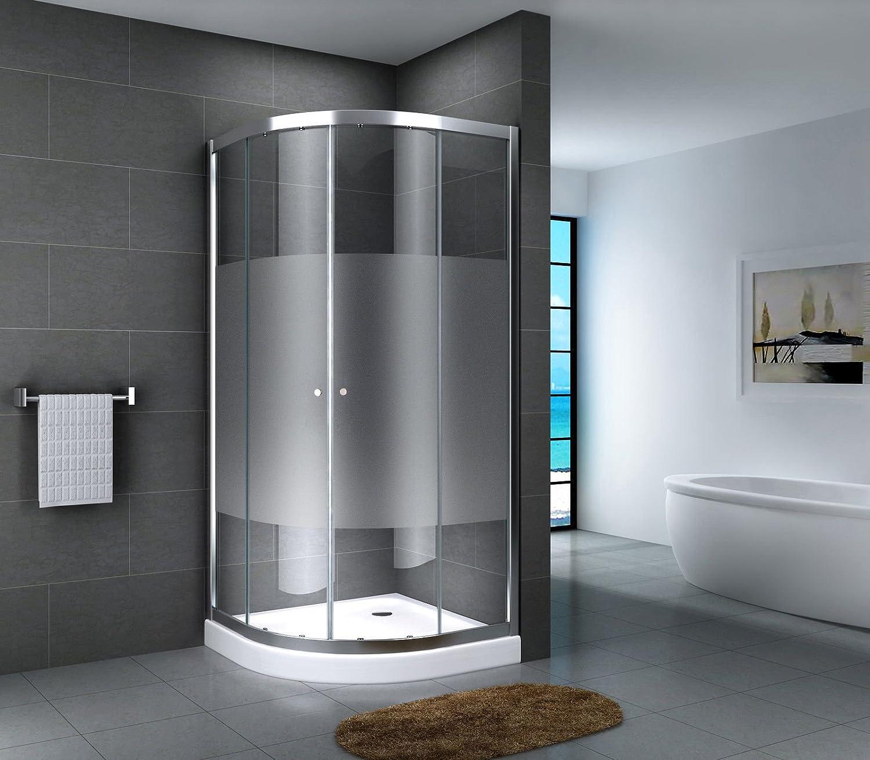 Cabina de ducha de esquina de vidrio ESG, ducha redonda, plato de ducha, entrada de esquina, cristal transparente, vidrio opalino satinado, puerta corredera, Multicolor: Amazon.es: Bricolaje y herramientas
