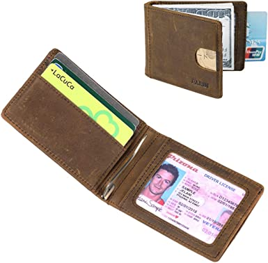 GIFTS FOR MEN Cowhide Leather Mens Money Debit Credit Card Wallet Holder Brown