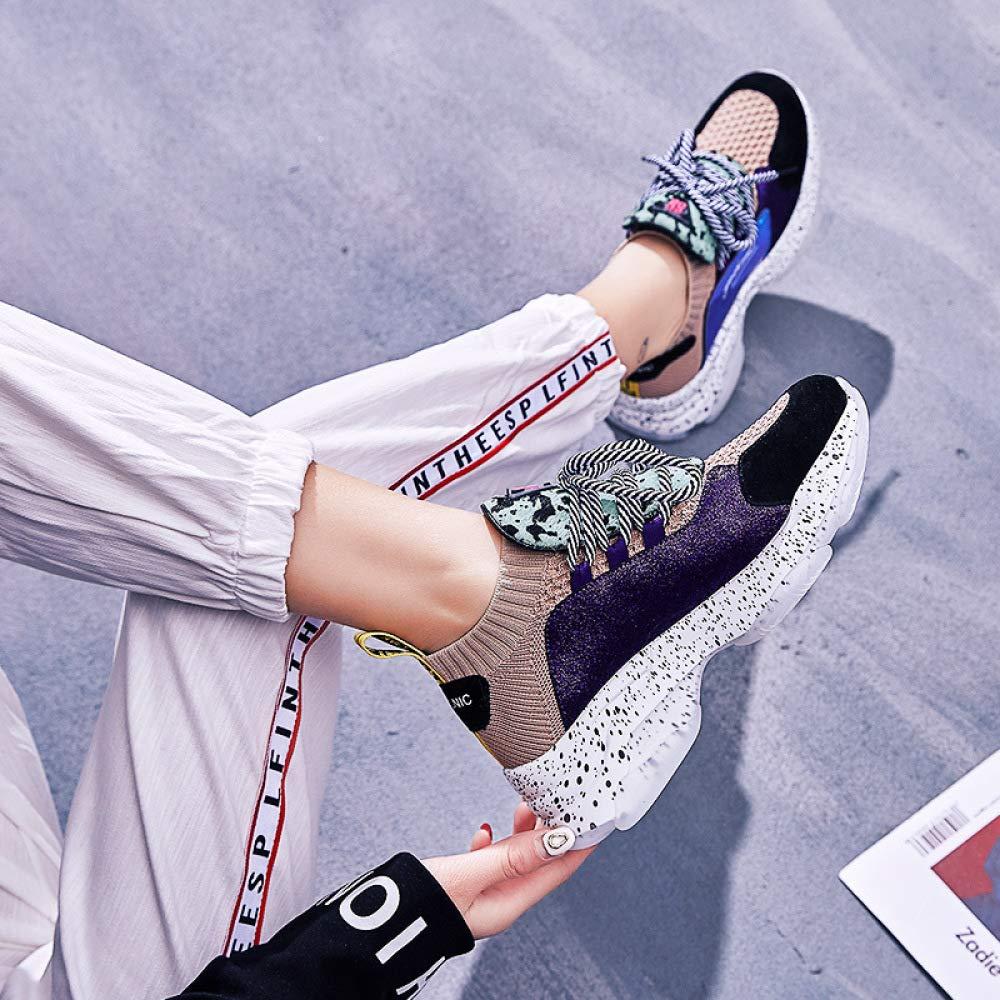 Frauen Leder Frühling Frühling Frühling Sport Farbe Passend Stricken Lässige Plateauschuhe Schnürung Mode Turnschuhe Elastische Schuhe c7d94a