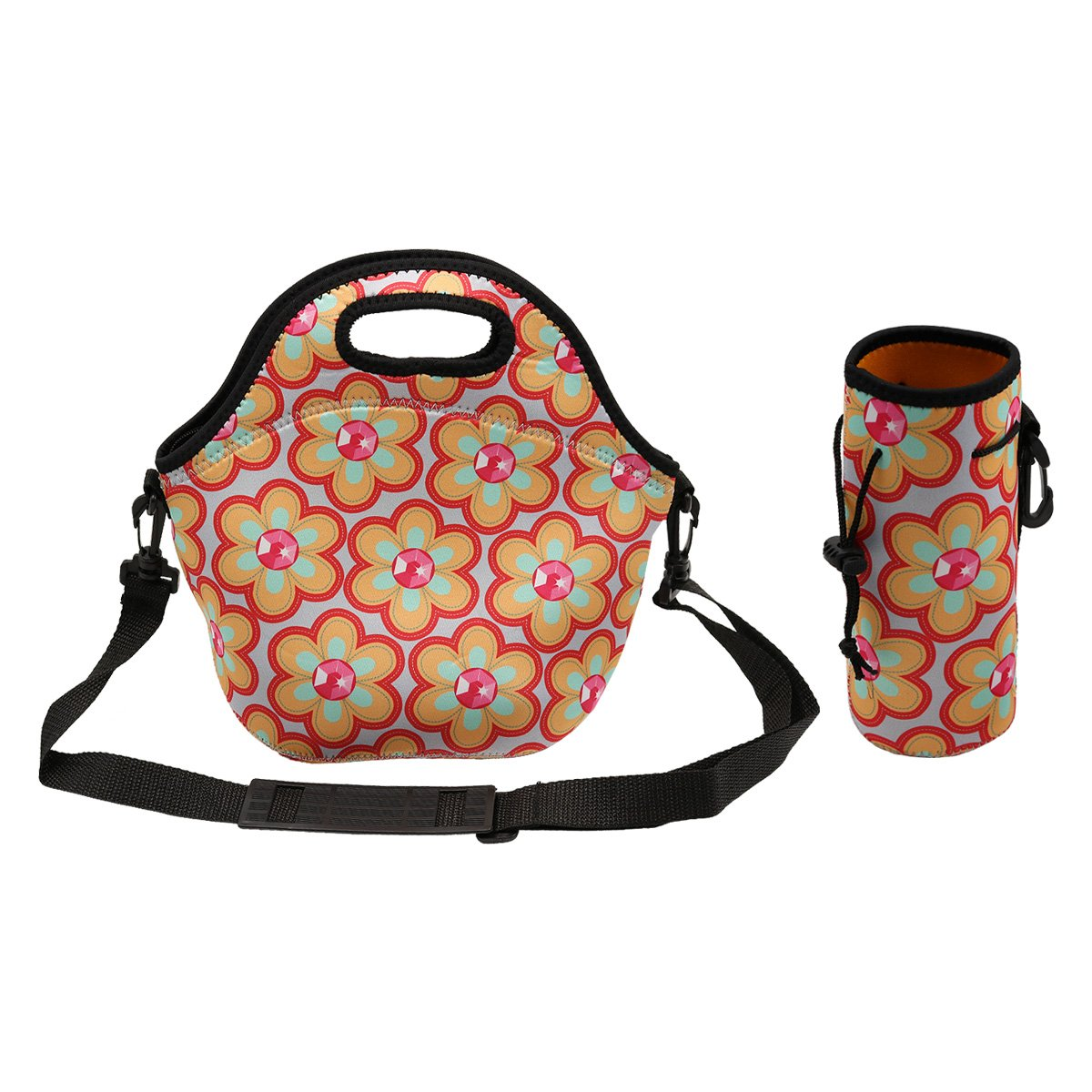 Amerzam Neoprene Lunch Bags/Lunch Boxes, Waterproof Outdoor Travel Picnic Lunch Box Bag Tote with Zipper and Adjustable Crossbody Strap (Lunch Bag+Water Bottle Tote) Amerzam-LB-RR