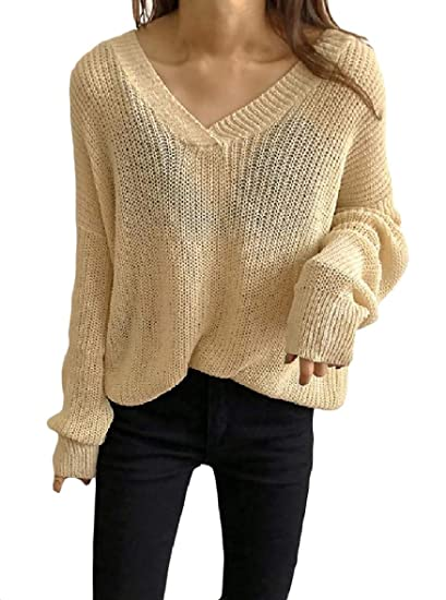 e843e32205 Tootless-Women Knitted Long-Sleeve Baggy See-Through V-Neck Thin Sweater  Top Apricot OS at Amazon Women s Clothing store