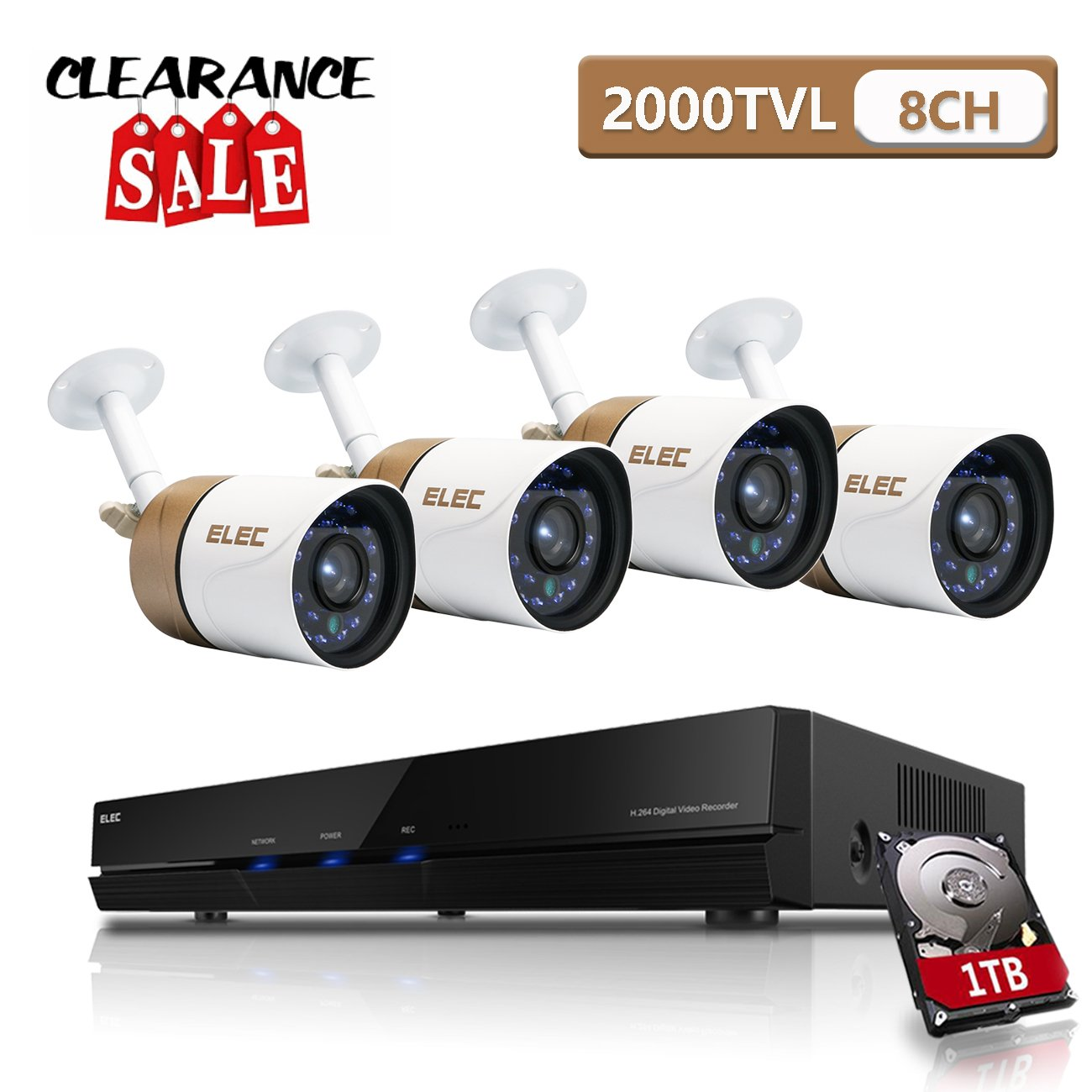 ELEC AHD 720P 8CH DVR Video Surveillance Security Camera System Pre-Installed 1TB Hard Drive, 2000TVL 1.3MP 4 CCTV Weatherproof 60ft Night Vision Bullet Cameras Remote Access