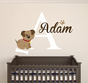 Dog Custom Name Wall Decal - Baby Room Decoration - Nursery Wall Decals - Dog Bone Footprint Vinyl Sticker