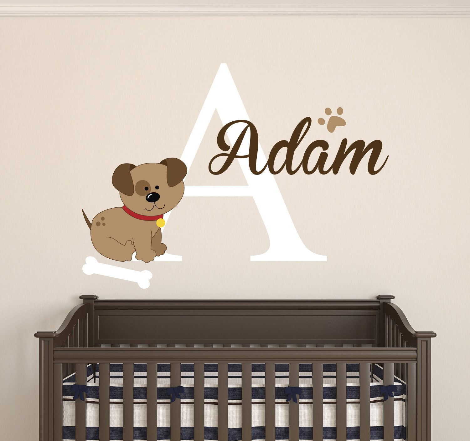 Dog Custom Name Wall Decal - Baby Room Decoration - Nursery Wall Decals - Dog Bone Footprint Vinyl Sticker