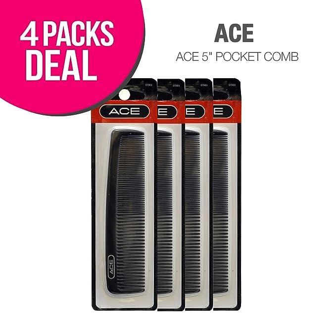 "Ace 5"" Pocket Comb, Regular Teeth and Fine Teeth (4 PACK)"