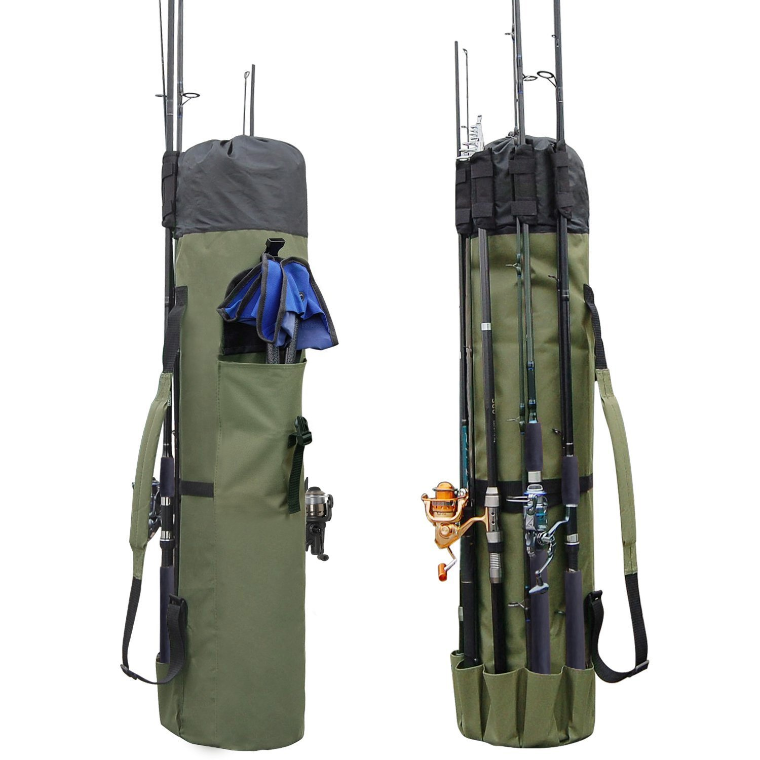 Allnice Durable Canvas Fishing Rod & Reel Organizer Bag Travel Carry Case Bag- Holds 5 Poles & Tackle