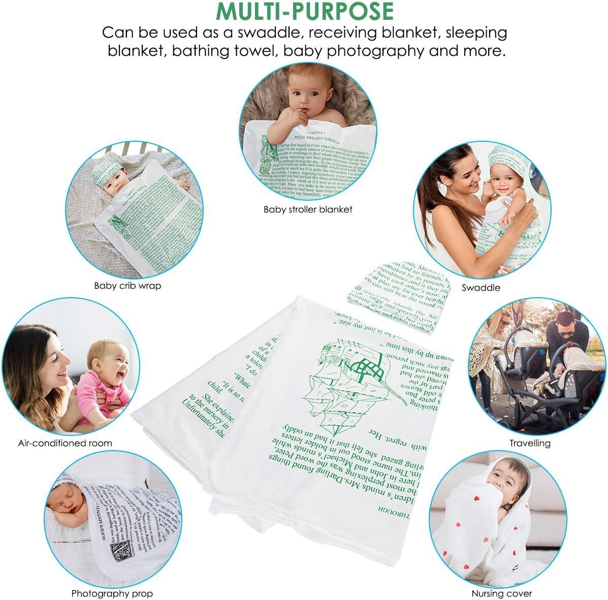 Baby Swaddle Blanket /& Hat Soft Unisex Nursery Story Blanket for Infant Newborn