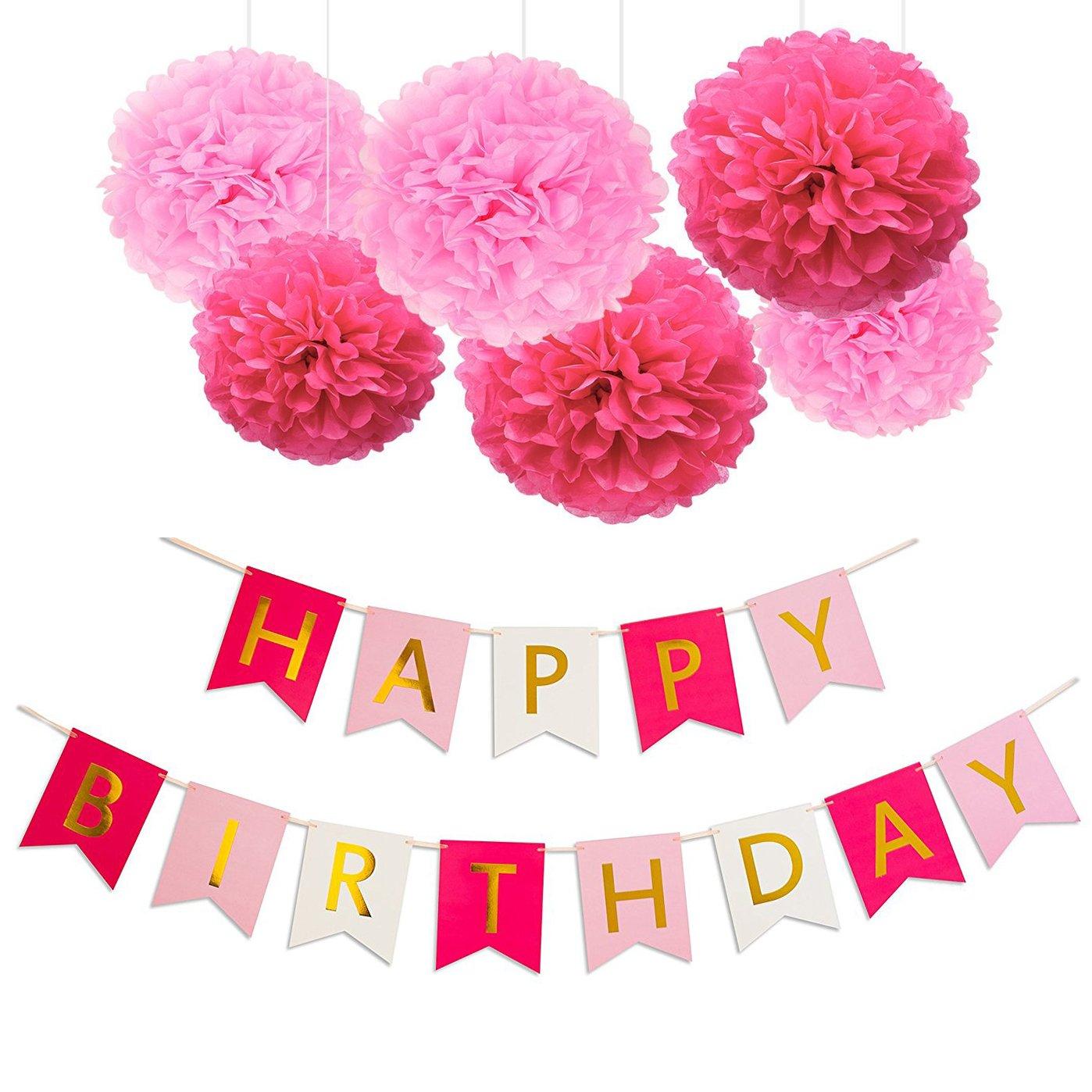 Koker Happy Birthday Bunting Banner Kitpaper Tissue Pom Poms Flower
