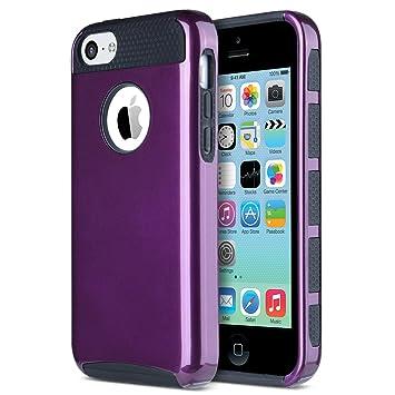 ULAK Caso del iPhone 5c, iPhone 5c Caso Funda Carcasa de Doble Capa híbrido Duro PC + TPU Cubierta Protectora del Caso para el iPhone 5c (púrpura + ...