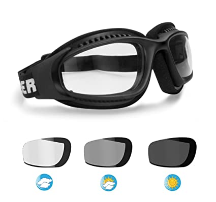 f9f51b30906 Motorcycle Goggles for Helmets - Photochromic Ventilated Antifog Lens -  Adjustable Strap with Outriggers - Mat