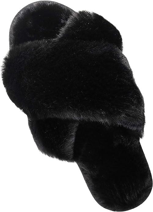 Details about  /Roxoni Women's Cozy Memory Foam Slippers Fuzzy Warm Faux Fur Indoor Outdoor Ru