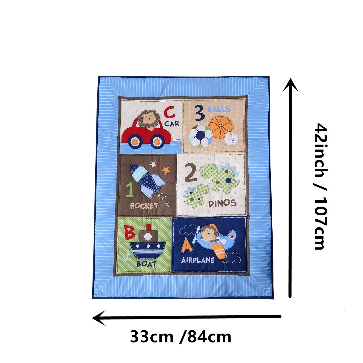 Wowelife Blue Crib Bedding Sets for Boys 7 Piece Travel Car and Airplane for Baby(Little Pilot) by Wowelife (Image #4)