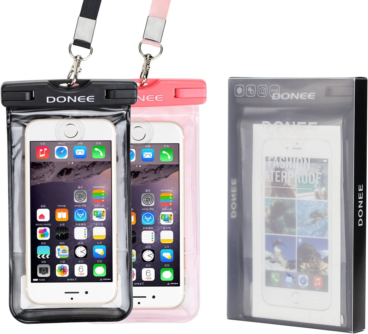 DONEE Universal Waterproof Case, IPX8 Cellphone Dry case Pouch with Sensitive PVC Touch Screen for Smart phonr up to 6.5 inch