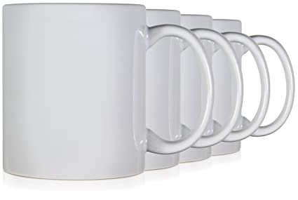 e115fd538d6 Serami 11oz Classic White Coffee Mugs. Large Handle and Ceramic  Construction, Set of 4