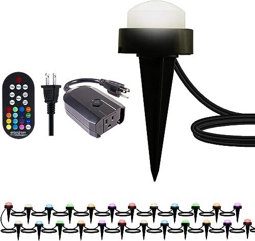 Enbrighten 41366 Select Color Changing, 24 Lifetime Seasons LED Landscape Mini Puck Lights 22ft. , White Selec, Black Remote w WiFi Smart Plug