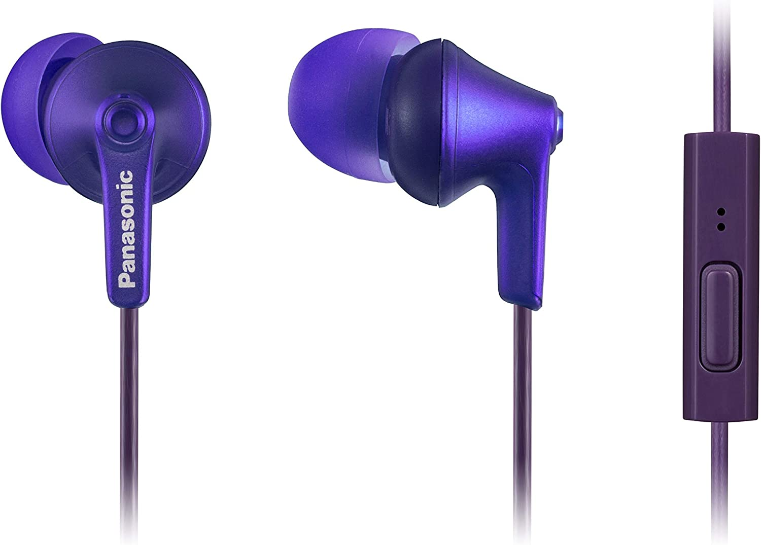 PANASONIC ErgoFit Earbud Headphones with Microphone and Call Controller Compatible with iPhone
