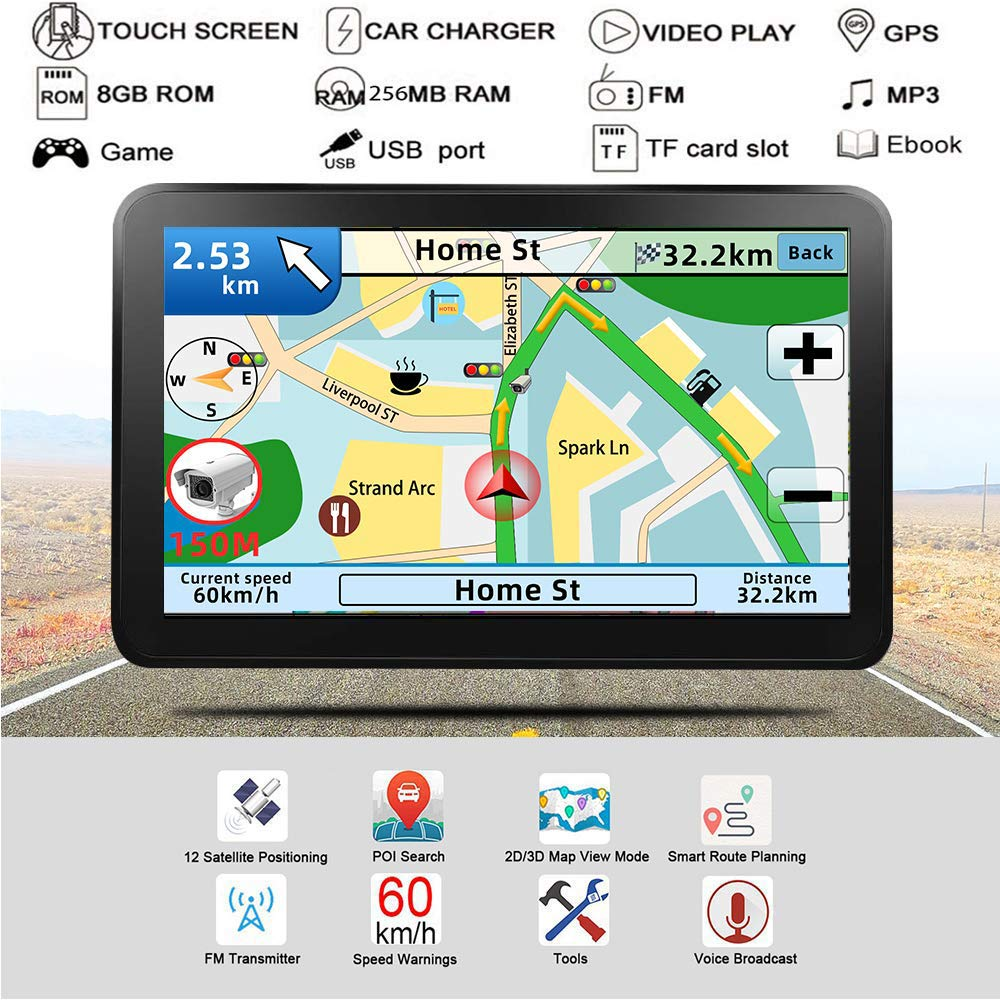 GPS Navigation for car,7 Inch GPS Navigation System, 8GB 256MB Car Navigation, Touch Screen Real Voice Direction 2019 Latest Maps Free Updates by Anstar (Image #2)