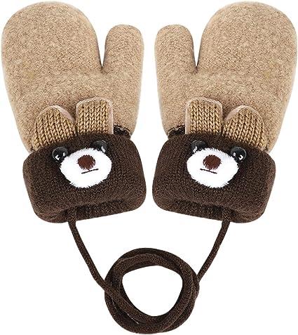 ATATMOUNT Cute Infant Baby Kid Full Finger Warm Winter Gloves Toddler Knit Rainbow Mittens