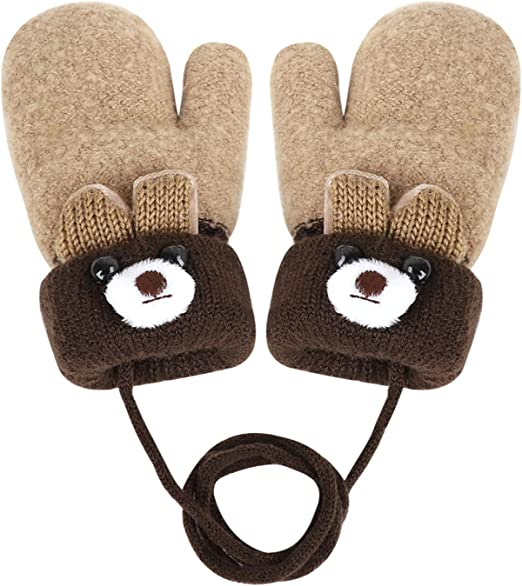 2020 Baby Stuff Accessories Winter Warm Toddlers Baby Boy Girls Kids Thick Fur Cartoon Bear Gloves Mittens For 0-3T Gifts blue