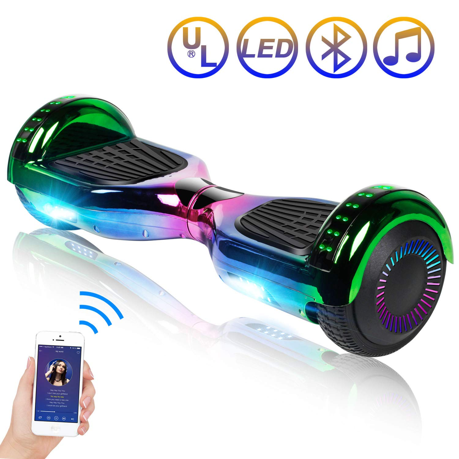 Hoverboard Self Balancing Scooter 6.5'' Two-Wheel Self Balancing Hoverboard with Bluetooth Speaker and LED Lights Electric Scooter for Adult Kids Gift UL 2272 Certified Plating Dazzle Series - Chrome by SISIGAD