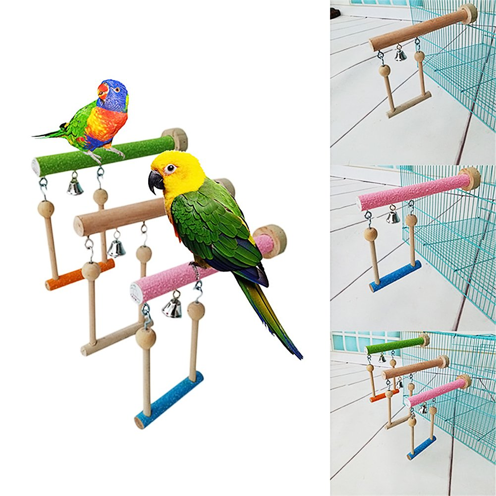 Keersi Wood Perch Toy with Bell for Bird Parrot Parakeet Cockatiel Conure Cockatoo African Grey Macaw Eclectus  Lovebird Finch Canary Budgie Cage Stand Swing