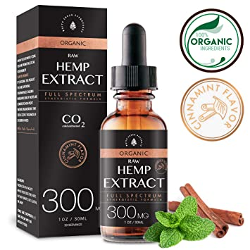 Organic Hemp Oil Extract for Pain & Stress Relief (300MG), Cinnamint  Flavor, Full
