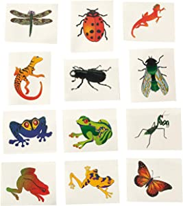 Fun Express - Insect & Reptile Tattoos (6dz) - Apparel Accessories - Temporary Tattoos - Regular Tattoos - 72 Pieces