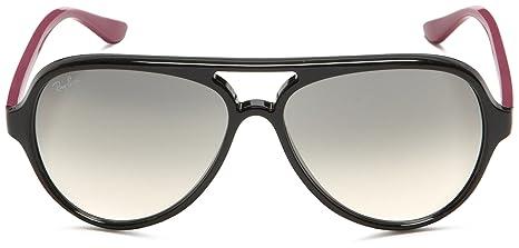 d6af3f03afe009 Ray Ban Rb4125 Cats 5000 Shiny Black Frame Grey Gradient Lens Plastic  Sunglasses  Amazon.fr  Vêtements et accessoires